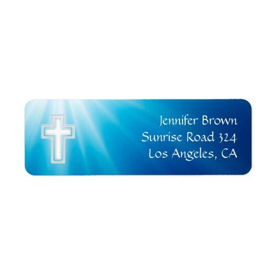 Étiquette Rayons de bleu du chrétien |