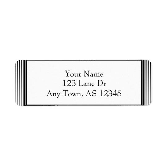Étiquette Rayure noire et blanche élégante d'art déco