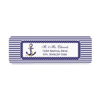 Étiquette Rayures nautiques élégantes de marine de mariage
