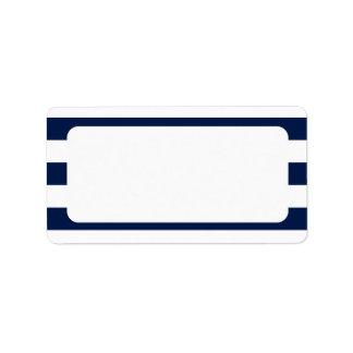 Étiquette Rayures nautiques vides de marine de mariage