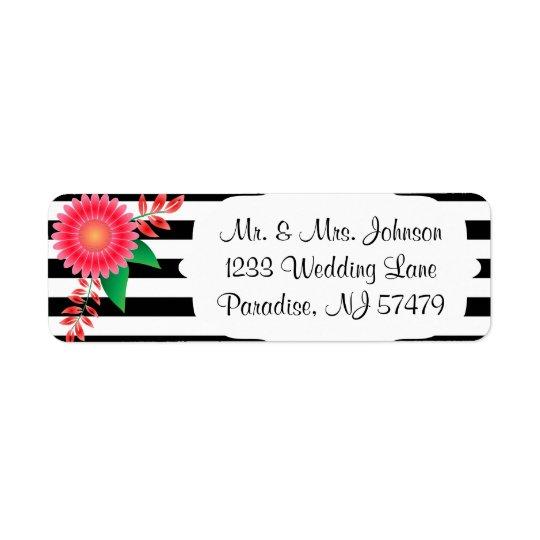 Étiquette Rayures noires et blanches, fleurs roses de l'or |