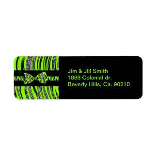 Étiquette Rayures vertes et noires au néon de parties