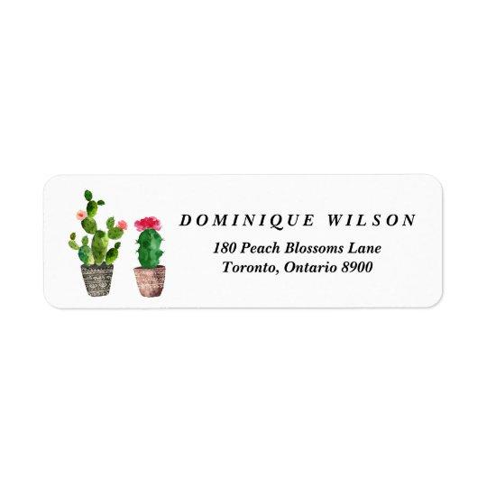 Étiquette Retour personnalisable de Succulents d'aquarelle
