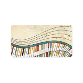 Étiquette Rétro antiquité de couleurs de piano onduleux impr