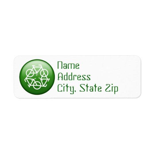Étiquette Réutilisez le logo avec des bicyclettes