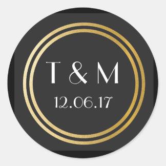 Étiquette rond d'or noir d'autocollants des années sticker rond