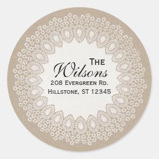 Étiquette rond vintage d'adresse de retour de sticker rond