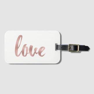 Étiquette rose de bagage d'amour d'or étiquette à bagage