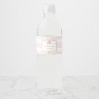 Étiquette rose de bouteille d'eau de baby shower
