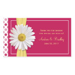 Étiquette rose de faveur de mariage de marguerite  modèles de cartes de visite