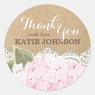 Étiquette rose de Merci de Papier d'emballage de