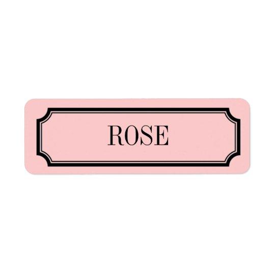 Étiquette rose de parfum de plaquette de mansarde