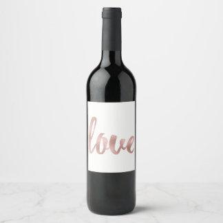 Étiquette rose de vin d'or, amour, aluminium
