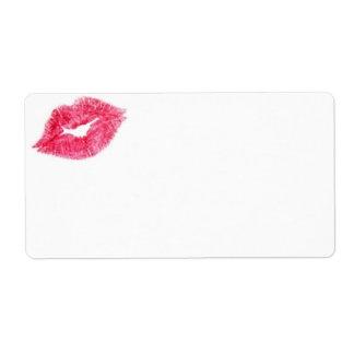 Étiquette rose d'impression de baiser de rouge à