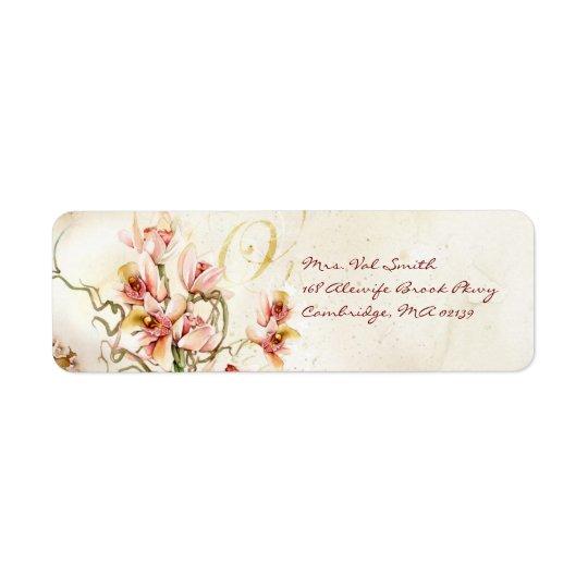 Étiquette rose d'orchidée