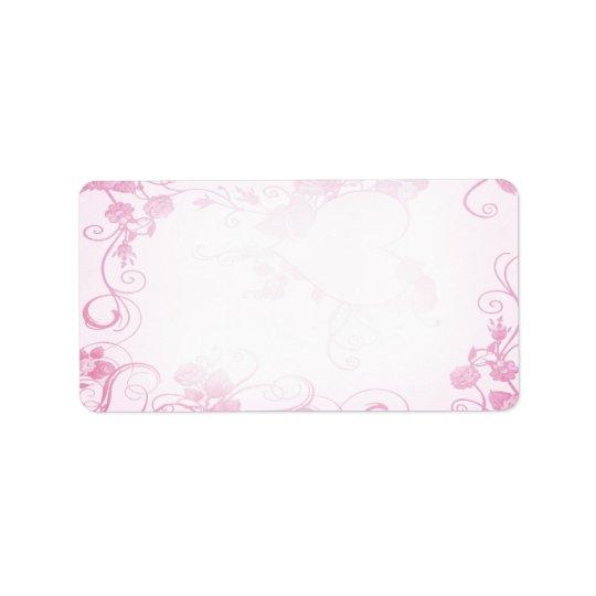 Étiquette rose et blanc vintage de mariage
