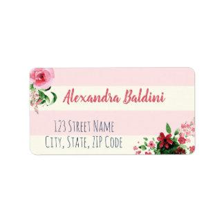 Étiquette Rose floral d'étiquettes de adresse de baby shower