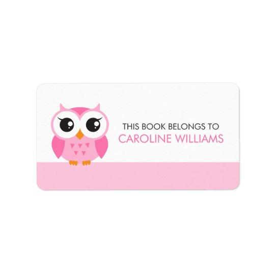 Étiquette rose mignon de livre d'ex-libris de hibo