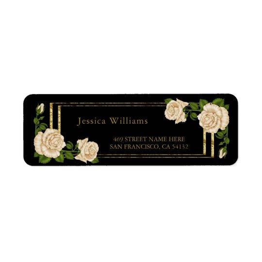 Étiquette Roses ens ivoire élégants et scintillement d'or
