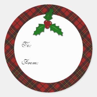Étiquette rouge adorable de cadeau de brindille de