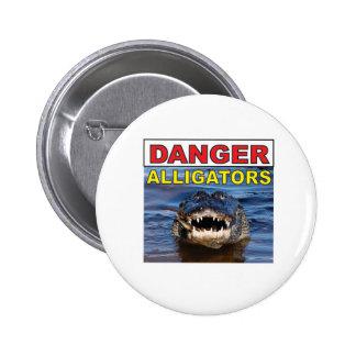 étiquette rouge d'alligator de danger pin's