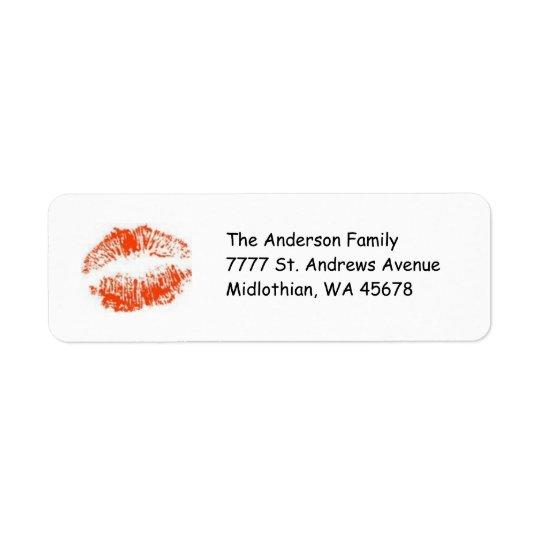 Étiquette rouge d'Avery d'adresse de retour de lèv