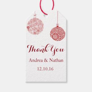 Étiquette rouge de cadeau de Merci de Noël
