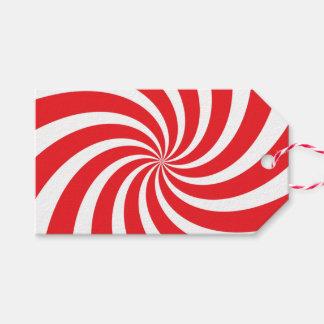 Étiquette rouge de cadeau de remous de sucre de