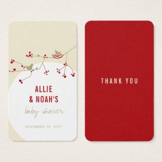Étiquette rouge de cadeau du baby shower cartes de visite