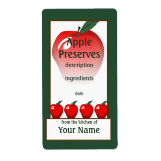 Étiquette rouge de conserves d'Apple