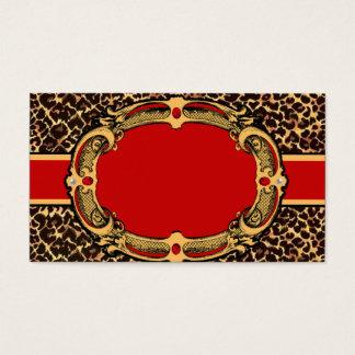 Étiquette rouge de motif de guépard cartes de visite