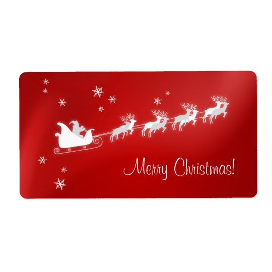 Étiquette rouge de Noël de Père Noël Sleigh