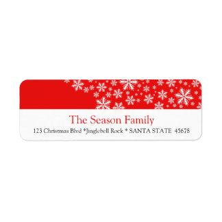 Étiquette rouge de vacances de flocon de neige