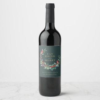 Étiquette rouge de vin de guirlande de vacances de