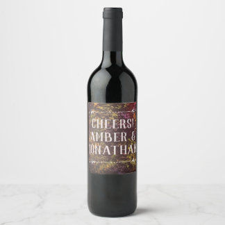 Étiquette rouge de vin de mur de plante