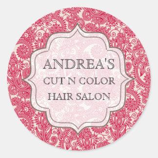 Étiquette rouge d'étiquette d'affaires de coiffeur sticker rond