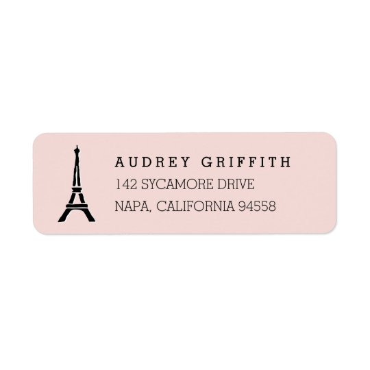 Étiquette Rougissent l'adresse de retour de Tour Eiffel rose