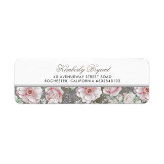 Étiquette Rougissent minables vintages floraux blancs roses