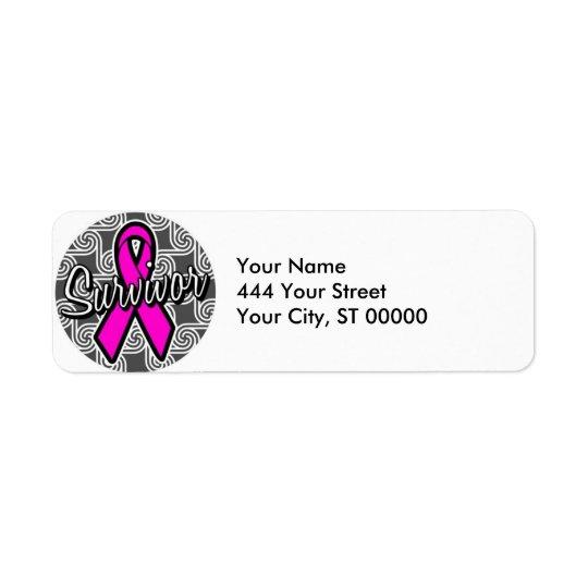 Étiquette ruban de rose de cancer du sein de survivant