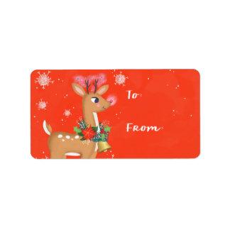 Étiquette Rudolph le cadeau de renne