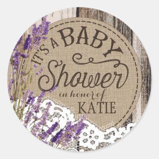 Étiquette rustique de baby shower de dentelle en