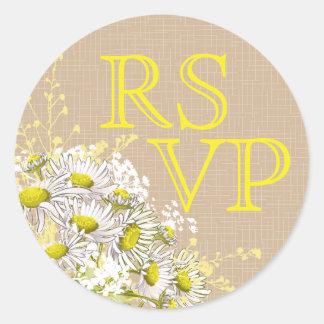 Étiquette rustique de la toile de jute RSVP de
