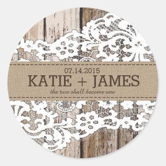 Étiquette rustique en bois et de mariage sticker rond
