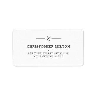 Étiquette Salon de coiffure minimaliste de ciseaux de blanc