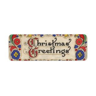 Étiquette Salutations vintages de Noël avec la frontière