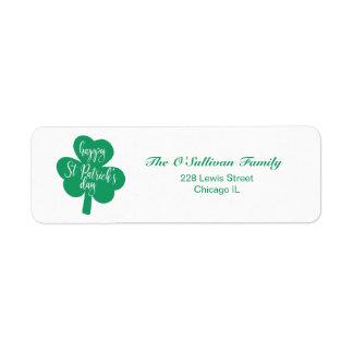 Étiquette Shamrock d'Irlandais du jour de St Patrick heureux