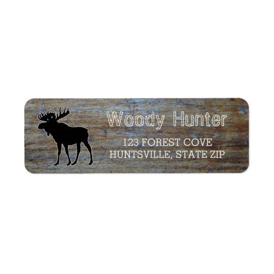 Étiquette Silhouette masculine rustique d'orignaux de faune