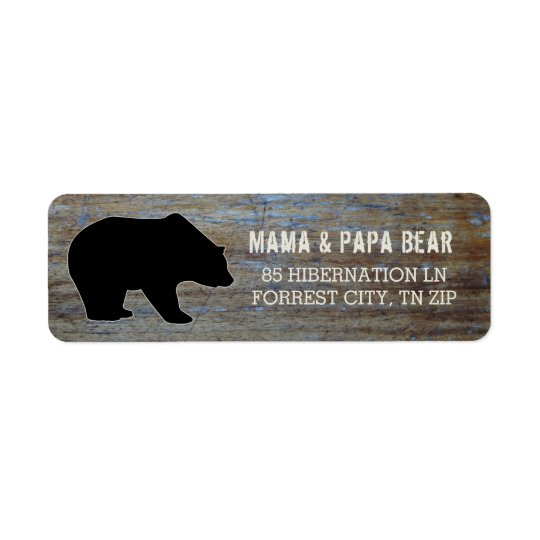 Étiquette Silhouette rustique d'ours noir de pays en bois  