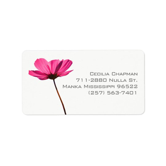Étiquette Simple pink flower label with custom text