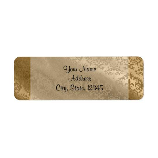 Étiquette snob en soie de mariage de damassé d'or